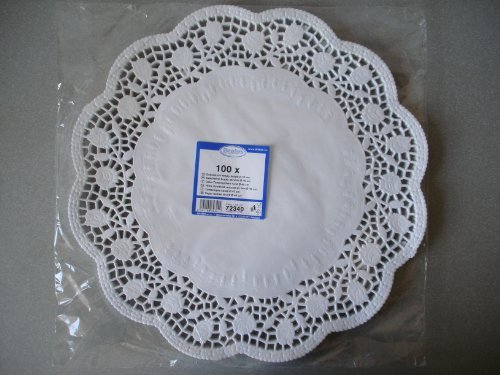 Very Large Doilies. 100 Pcs Round Lace Paper Plates on a Table. (New Large Round Doily)