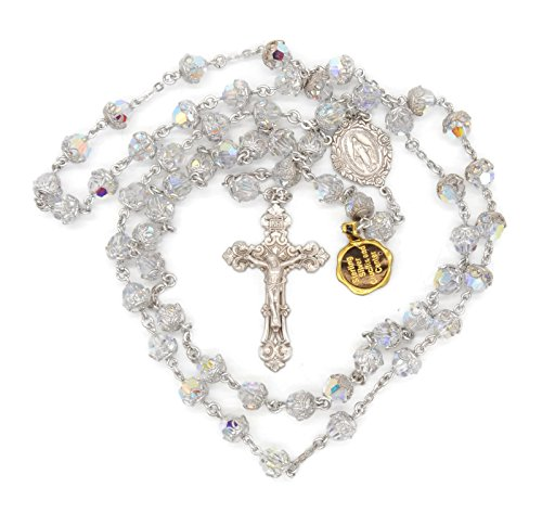 BERTOF BT-TSR109 Rosary Genuine Capped Swarovski Crystals With 100% Sterling Silver Center and Crucifix Hand Made USA Copyrighted Paul Herbert Blessin…