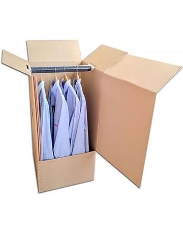Pack de Dos (2) Cajas Armario de Cartón, Color Marrón y Canal Doble