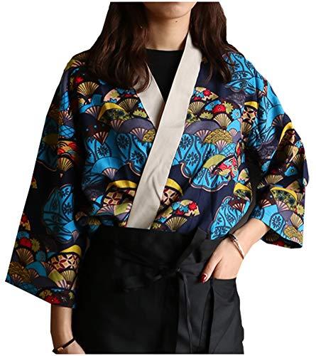Mens Women Patchwork Sushi Chef Jacket Japanese Kitchen Uniform Sushi Workwear Printed Kimono Cardigan