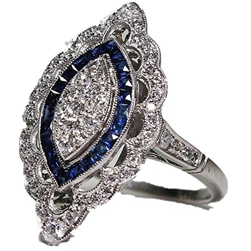 Challyhope Clearance! Rings, Fashion Elegant Studded Crystal Silver Sapphire Cubic Zirconia Diamond Band Ring Women Jewelry Gift (Silver, 8)