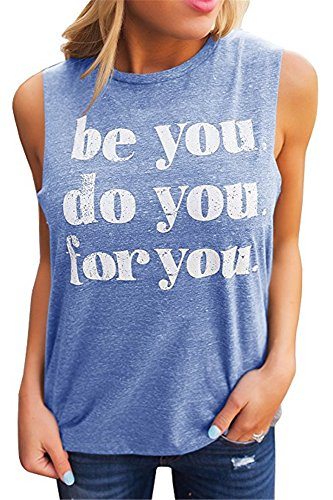 Tee Sleeveless Graphic (Huiyuzhi Womens Graphic T Shirts Funny Tees Crew Neck Sleeveless Workout Tank Tops (L, Lighte Blue))