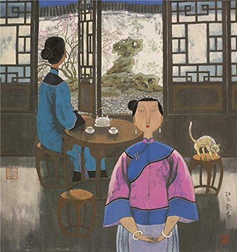 Single Stroller Stone - Perfect Effect Canvas ,the Vivid Art Decorative Prints On Canvas Of Oil Painting 'Hu Yongkai,Two Women Separated,21th Century', 8x9 Inch / 20x22 Cm Is Best For Bar Gallery Art And Home Gallery Art And Gifts