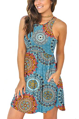 Women's Sleeveless Summer Floral Print Dresses Casual Short Dress with Pockets Floral Mix Blue XX-Large