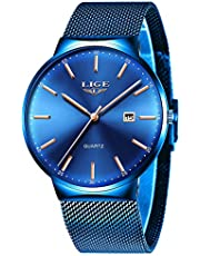 LIGE Men's Watch Military Fashion Casual Analog Quartz Chronograph Watch for Men Waterproof Stainless Steel Black Elegant Gents Dress Wristwatch