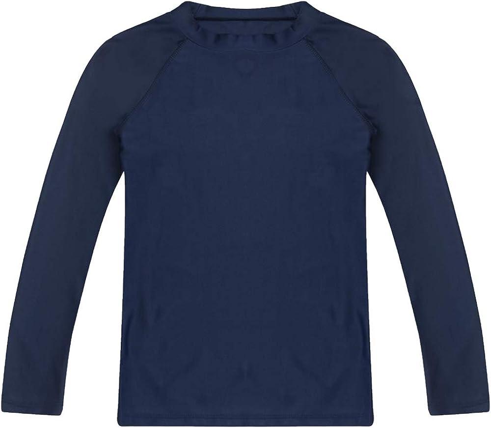 Boys Long Sleeve Rashguard Swimwear Rash Guard Athletic Tops Swim Shirt UPF 50 Navy 2T Sun Protection