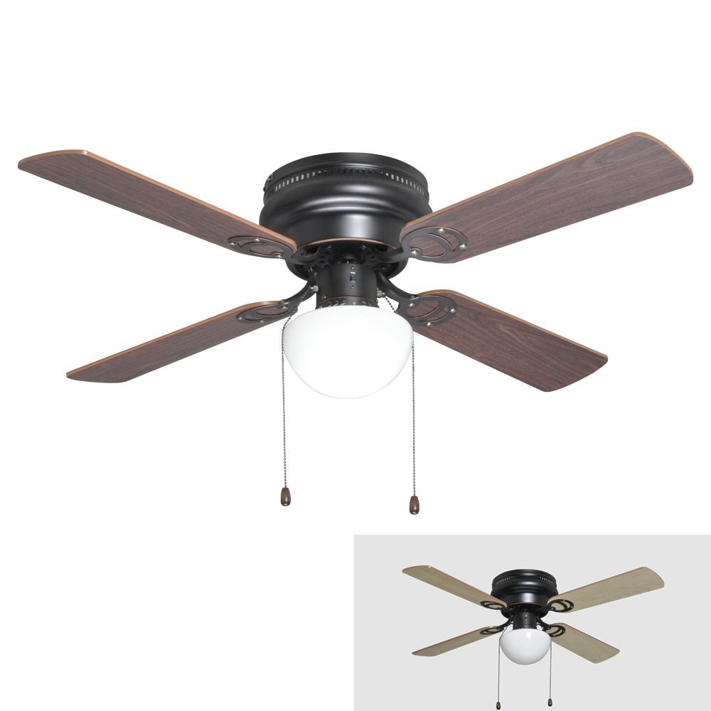 oil rubbed bronze 42inch hugger low profile flush mount ceiling fan with light kit amazoncom