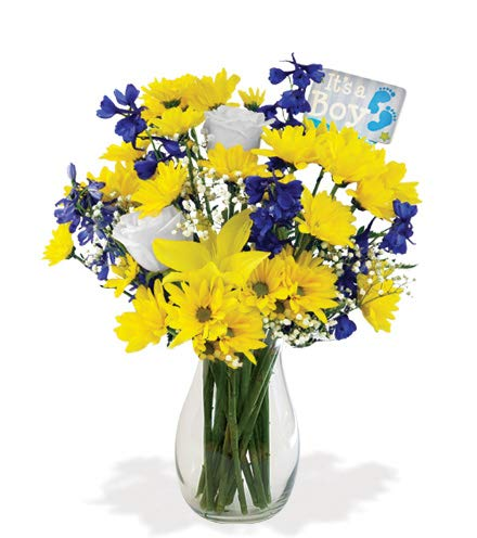 It's A Baby Boy Yellow Lilies, Blue Delphinium, and White Roses Bouquet in a Clear Vase and Baby Boy Pick (Fresh Cut Flowers) ... by Flowers Sent Today