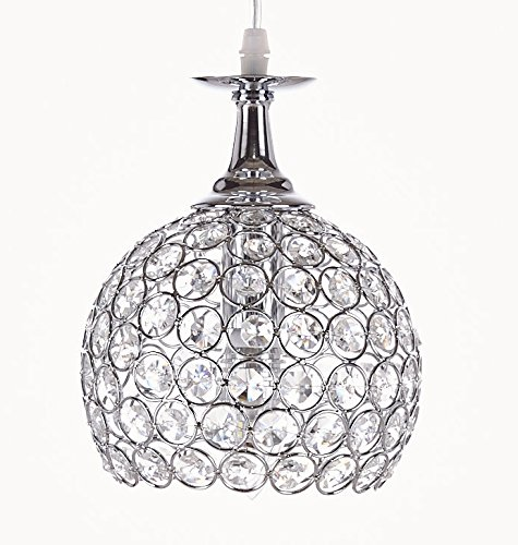 New Galaxy Lighting 1-light Chrome Finish Metal Shade Crystal Chandelier Hanging Pendant Ceiling Lamp Fixture