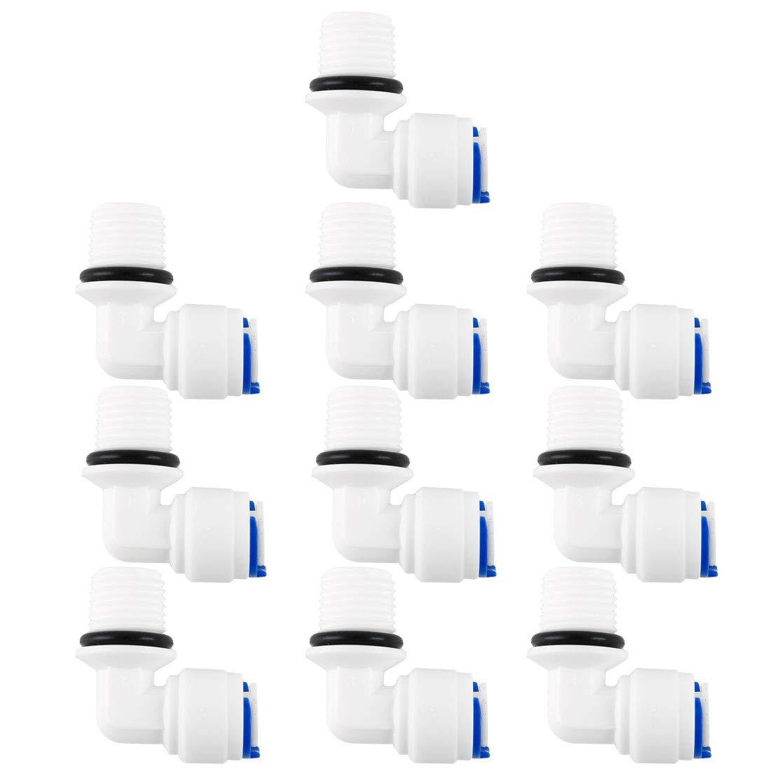 1//4BSP macho 1//4 Tubo OD sourcing map 5uds R/ápida Conexi/ón Agua Purificador Tubos Montaje Empuje Conectores Agua Manguera Junta para RO Inversa /Ósmosis Sistema Codo