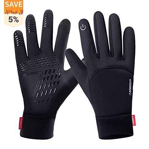 FengNiao Winter Warm Gloves Men Women Touchscreen Windproof Outdoor Running Skiing Driving Thermal Gloves(Black)