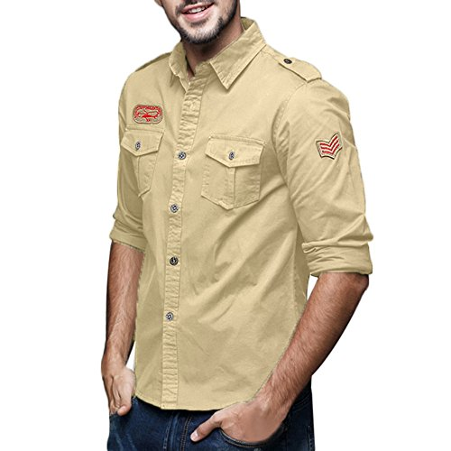 pipigo Men Hooded Drawstring Plus Size Pocket Casual Button Front Shirts