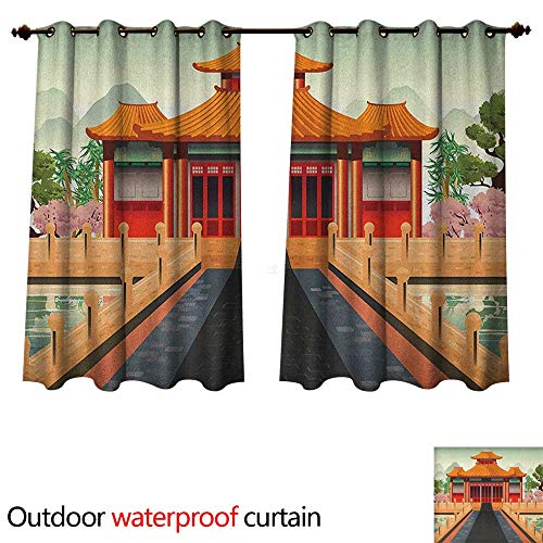 (Ancient China Home Patio Outdoor Curtain Chinese Temple Illustration in Lively Colors Landscape and Pink Asian Plants W63 x L72(160cm x 183cm) )
