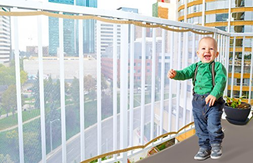 Harmonic Lifewares 10ft x 3ft Child Safety Rail Net - INDOOR & OUTDOOR usage - Balcony - Stairway - Reinforced Materials - Adjustable - Pet Safety Mesh
