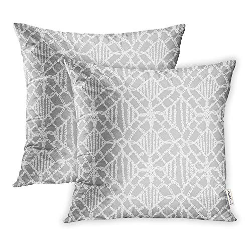 - Emvency Pack of 2 Throw Pillow Covers Print Polyester Zippered Crochet Pattern Knitting Granny Lace Macrame Hygge Lifestyle Woman Boho Pillowcase 18x18 Square Decor for Home Bed Couch Sofa