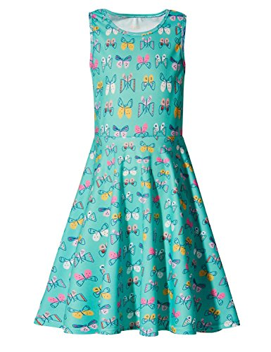 Uideazone Little Girls Butterfly Sleeveless Sundress Dress for Summer Casual]()