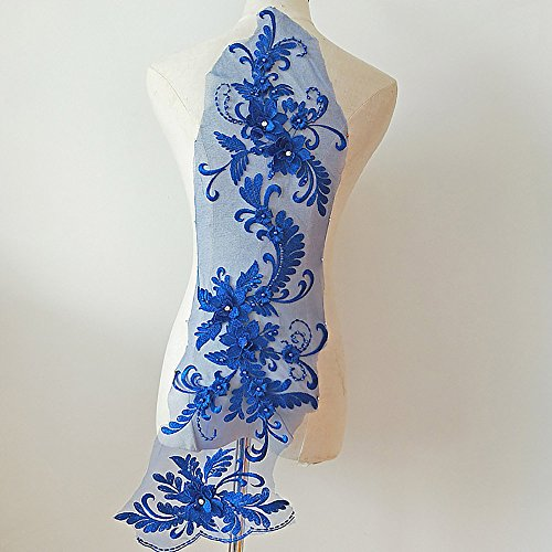 3D beaded flower sequence lace applique motif sewing bridal wedding 3in1 20cmx72cm (Royal Blue)