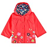 Halife Kids Toddler Girls Red Hooded Rain Jacket Flower Raincoat Hoodies