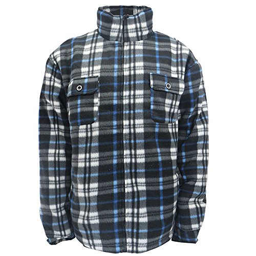 (Winter Heavy Warm Sherpa Lined Fleece Plaid Flannel Jacket Men Plus Size S-5XL Big&Tall Mens Coat (4X-Large, Blue))