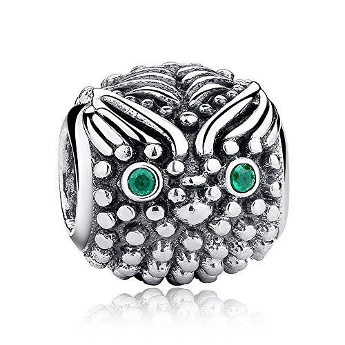Silver Owl Beads (Everbling Charming Owls Mom and baby Owl Wisdom Bird 925 Sterling Silver Bead Fits European Charm Bracelet (Wise Owl Green CZ))