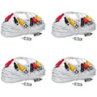 VideoSecu 4 Pack 100ft Security Camera Wires Audio Video Power Cables BNC RCA Extension Cords for CCTV DVR Home Surveillance System with bonus Connectors C77