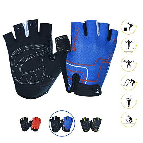 Cycling Fingerless Gym Gloves for Men & Women Comfortable Wear Resistant Breathable Stretch Fabric Non-Slip Damping Foam Pads for Mountain Bike Workout Crossfit Gloves Outdoor Sports