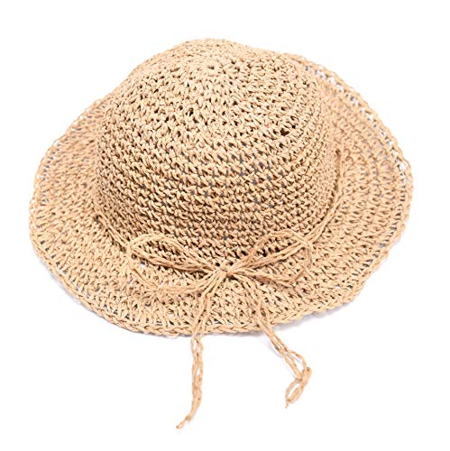 accsa Toddler Kid Girl Straw Floppy Brim Panama Sun Hat Beach Summer UPF Protection Foldable with Natural Bow Age 2-5Y Bronze ()