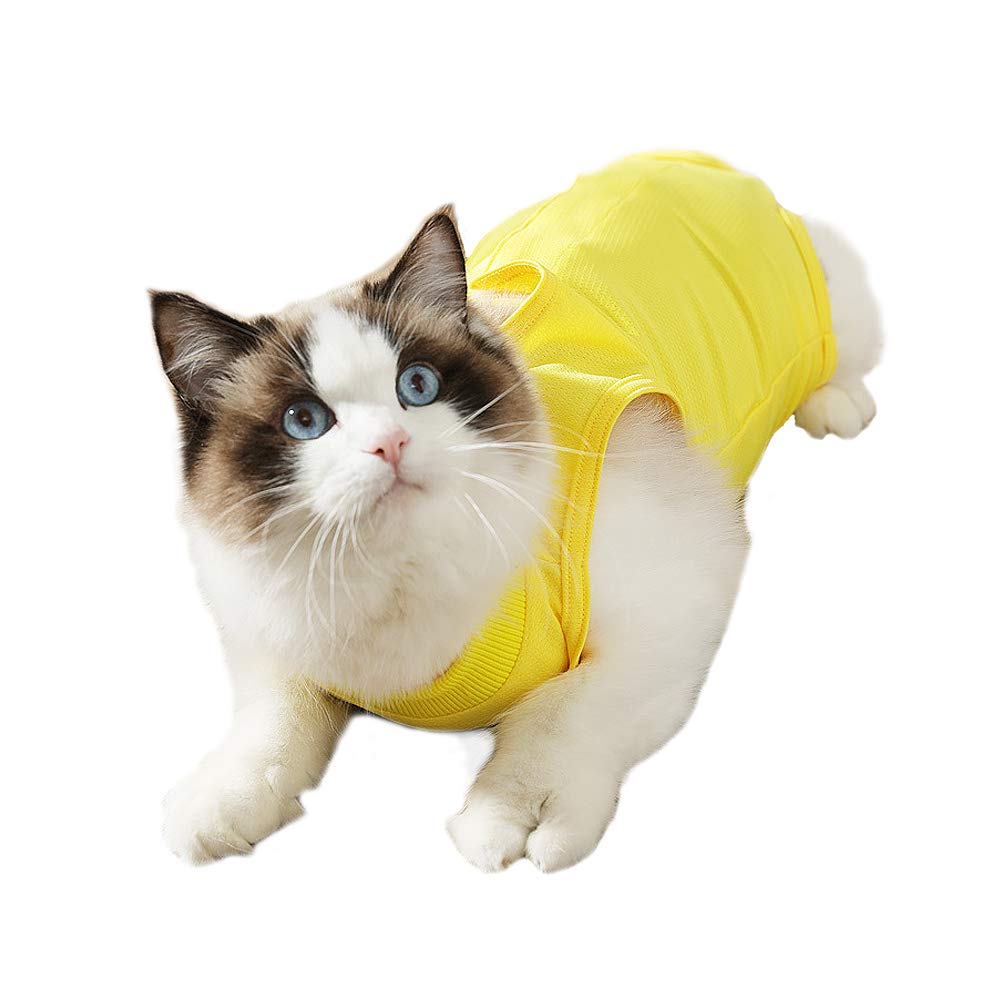 Cat Surgical Recovery Suit Adjustable Medical Cotton Breathable Shirt for Cats and Kitten Abdominal Wounds Skin Diseases After Surgery (M) by kathson