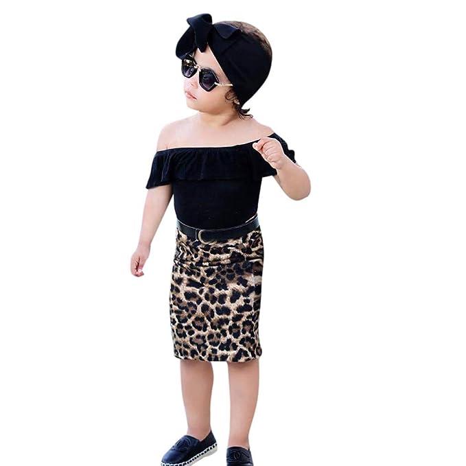 997a75fa7 Conjuntos para Niña Vestido para Niñas Monos Ropa para bebé niñas Verano T  Shirt Tops + Falda con Estampado de Leopardo Conjunto de Ropa  Amazon.es   Ropa y ...