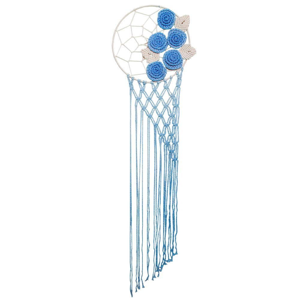 Ebristar Macrame Dream Catcher Wall Hanging Handmade Woven Boho Home Decor Unique Gift Ideal - Blooming Roses - 47.5''L X 12''W - Blue