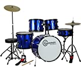 #8: Drum Set Full Size Adult 5-piece Complete Metallic Blue with Cymbals Stands Stool Sticks