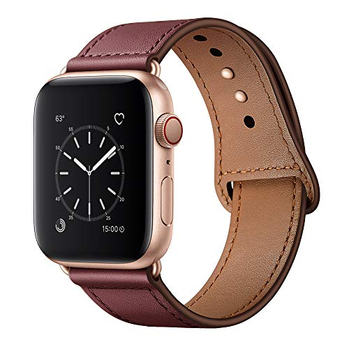 KYISGOS Compatible with iWatch Band 40mm 38mm, Genuine Leather Replacement Band Strap Compatible with Apple Watch Series 5 4 3 2 1 38mm 40mm, Wine Red Band with Rose Gold Adapter