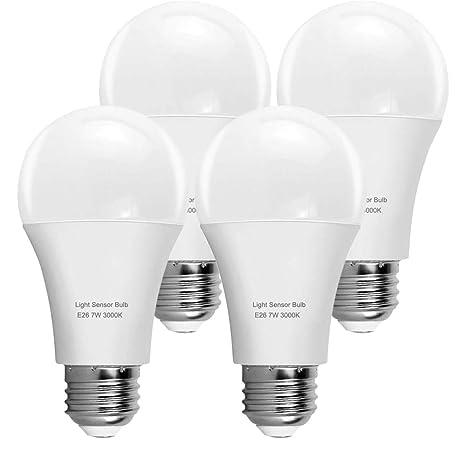 KINDEEP Motion Sensor Light Bulb, A60 7W LED Smart Bulb Dusk to Dawn, E26 Base, 3000K, Soft White, Auto On/Off, 4 Packs - - Amazon.com