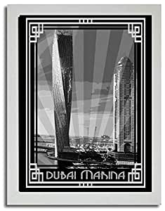 Dubai Marina- Black And White With Silver Border F03-nm (a4) - Framed