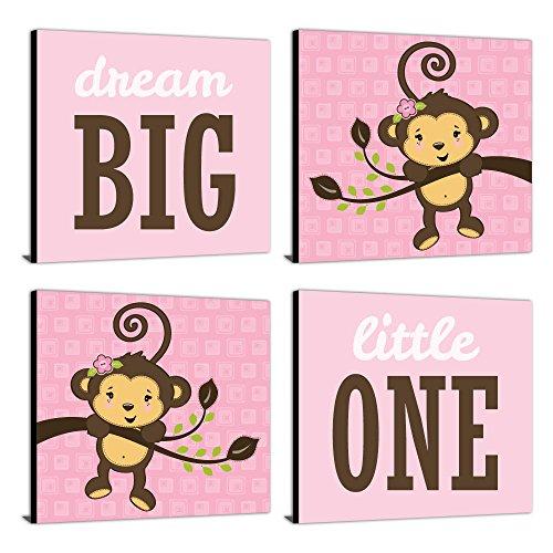 "Pink Monkey Girl - Nursery Decor - 11"" x 11"" Nursery Wall Art - Set of 4 Prints for Baby's Room ()"