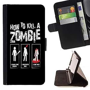 Dragon Case - FOR Samsung Galaxy S6 EDGE - How to kill a zombies - Caja de la carpeta del caso en folio de cuero del tir¨®n de la cubierta protectora Shell