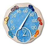 Springfield 12'' Sandals Poly Resin Thermometer with Clock