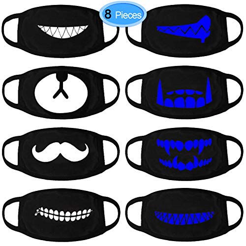 Mouth Mask, EAONE 8 Packs Cool Luminous Unisex Face Mask Cute Teeth Pattern Kpop Mask Washable Anti Dust Cotton Mouth Face Mask for Teens Men and Women (Black with Blue Fluorescence)