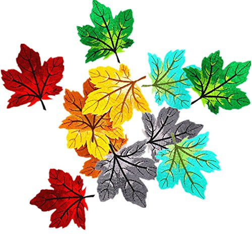 12 Pack Assorted Colorful Maple Leaves Patches Iron on Patches Embroidered Applique Motif (Assorted)