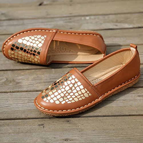 Sequins TDA Cut Women's Brown Flats On Synthetic Fashion Low Shoes Casual Slip wXwSA