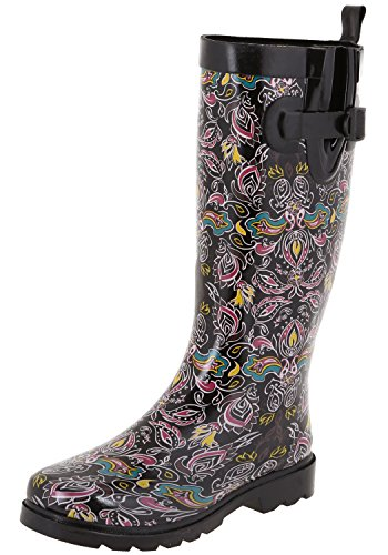 Capelli New York Ladies Fanciful Paisley Printed Rain Boots Black Combo ()