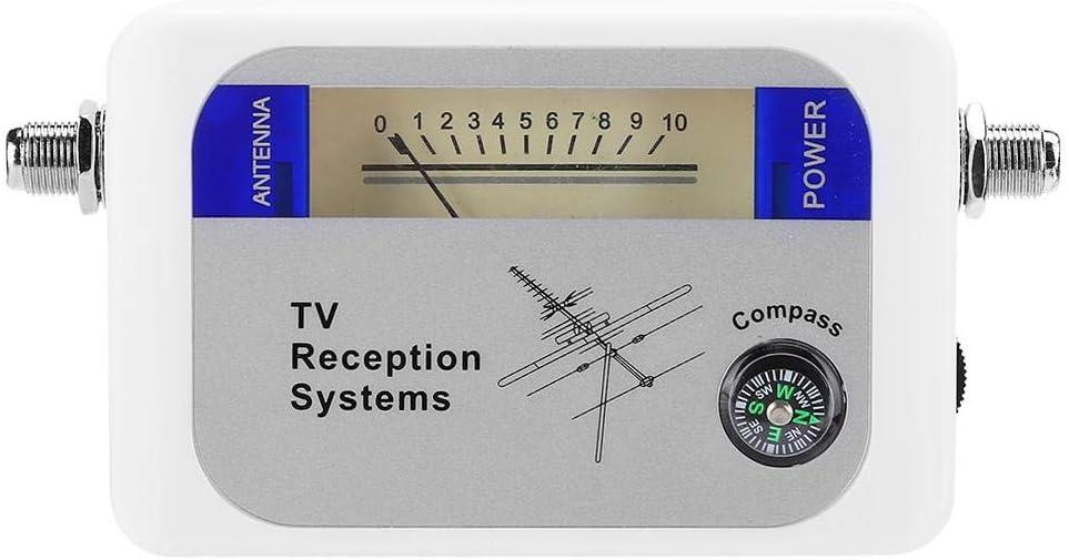 Yunir Affichage num/érique Satellite Signa Finder Compteur de Force de Signal If int/égr/é Finder Satellite avec Base de Chargement de Batterie Satellite Finder pour antenne DVB-T