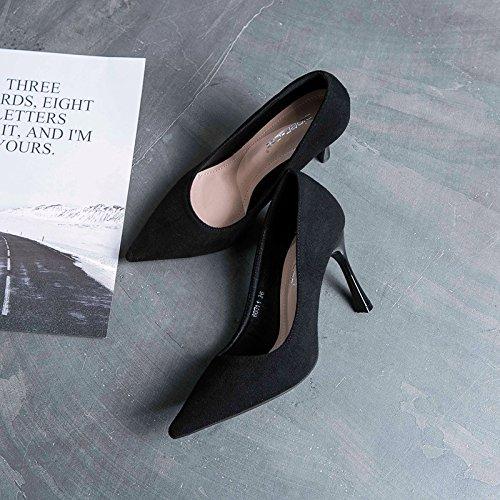 ZHZNVX Das Mädchen Schuhe blassen Mund einzelne Schuhe Mädchen und vielseitige Video dünn fein mit Frauen Schuhe hohe Schuhe Frauen mit flachen Mund einzelne Schuhe 4815a6