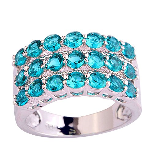 Psiroy 925 Sterling Silver Charming Round Cut Green Topaz Gemstone Stack Filled Ring Band for Women (Gold Twin Octagon Ring)