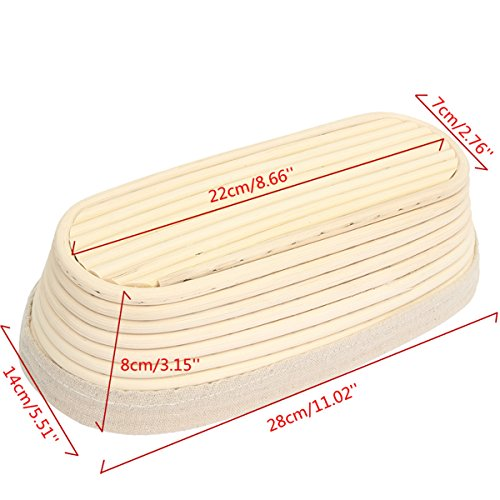 Jeteven 11 inch Banneton Bread Proofing Basket with Liner, Oval Perfect Brotform Proofing Rattan Basket for Making Beautiful Bread, Pack of 2 by Jeteven (Image #3)