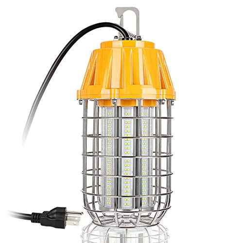 LEONLITE High Bay LED Temporary Work Light Fixture, 8400Lm, 5000K Daylight, 60W (550W Equiv.), IP65 Dust & Waterproof, 5 Year Warranty, Stainless Steel Guard, Plug-n-Play, DLC & UL-Listed ()