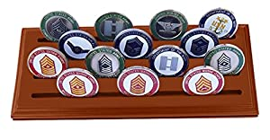 DECOMIL Military Collectible Challenge Coin Holder Solid Walnut Stands