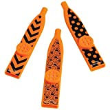 US Toy Assorted Candy Corn Halloween Theme Black And Orange Toy Kazoo Party Favors - Pack of 6