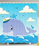 Kids Fabric Shower Curtain Nautical Bathroom Decor by Ambesonne, Cute Cartoon Whale Wearing a Captain Hat for Girls and Boys, Polyester Fabric Bathroom Shower Curtain Set with Hooks