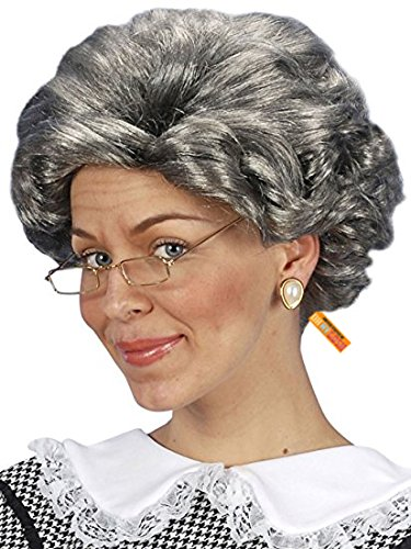 Old Woman Wig (Unisex) - Choose Style (Gray or Gray/Blonde) - #1 Old Lady Woman Wig -